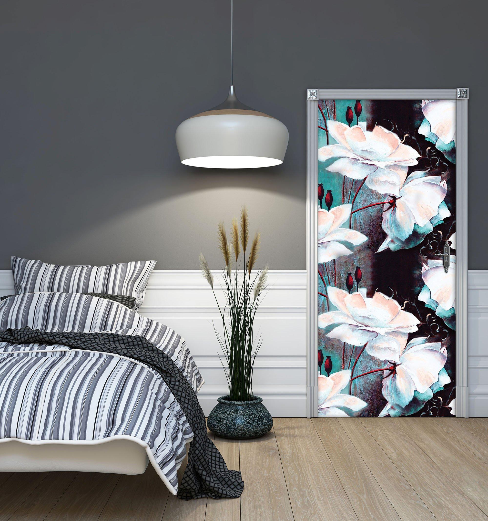 t r fototapete mit blumenmuster in t rkis und schwarz. Black Bedroom Furniture Sets. Home Design Ideas