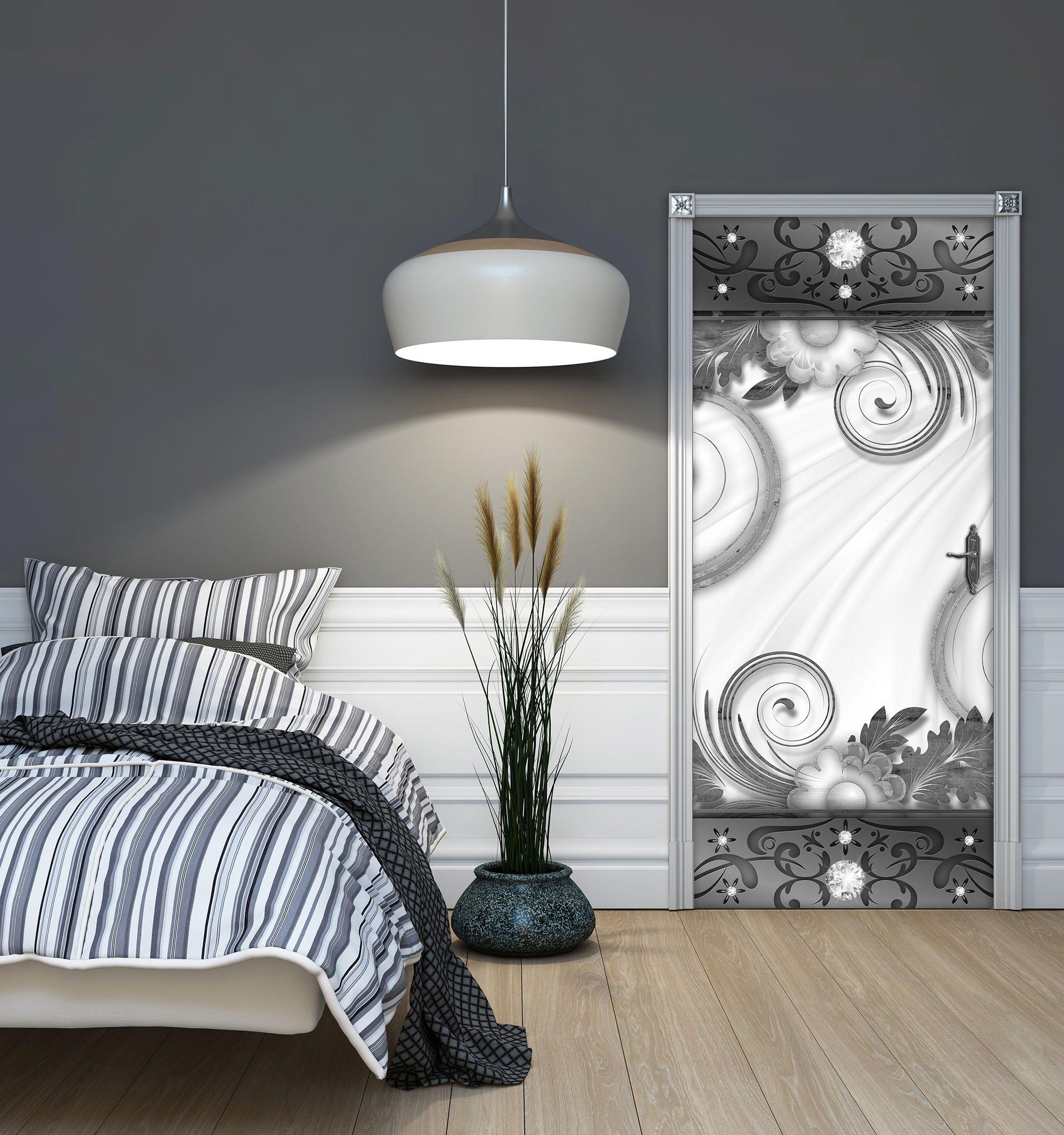 t r fototapete mit blumenmuster in grau wei weltderbilder. Black Bedroom Furniture Sets. Home Design Ideas