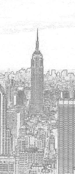 Bild von Schwarzweiss-Skizze der Stadt