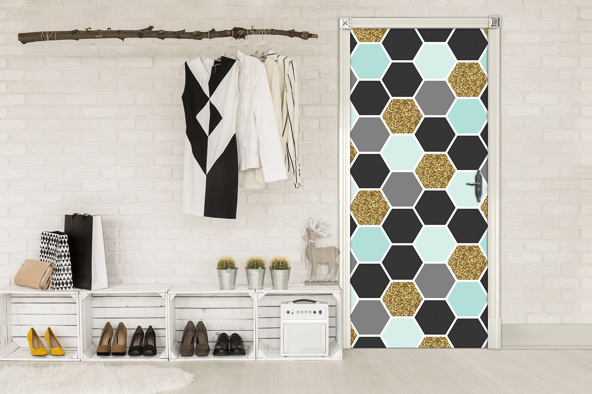 t r fototapete mit abstrakten sechsecken. Black Bedroom Furniture Sets. Home Design Ideas