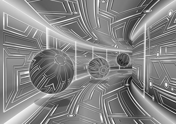 Bild von 3D Grau Tunnel mit Kugeln