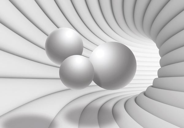 Picture of 3D Tunnel with White Spheres