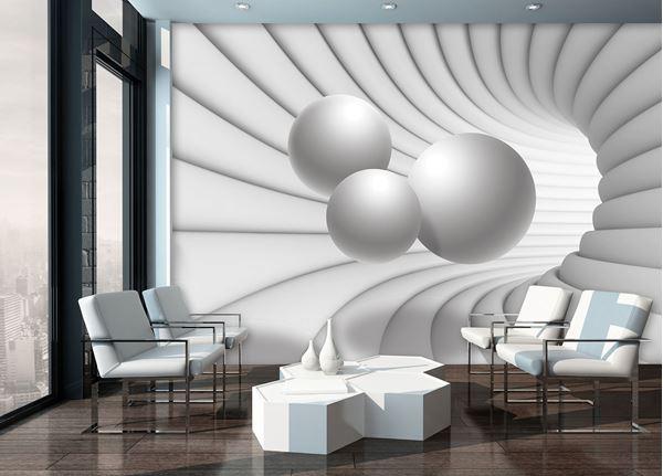 Obrazek Tunel 3D z kulami w bieli