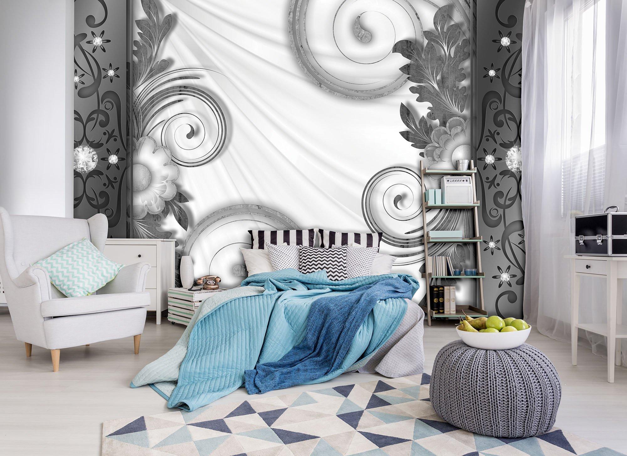 fototapete mit blumenmuster in grau wei. Black Bedroom Furniture Sets. Home Design Ideas