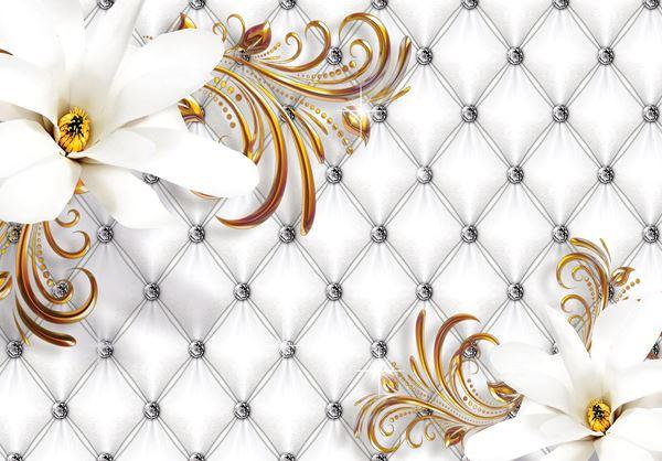 Obrazek Srebrny pikowany wzór i kwiaty