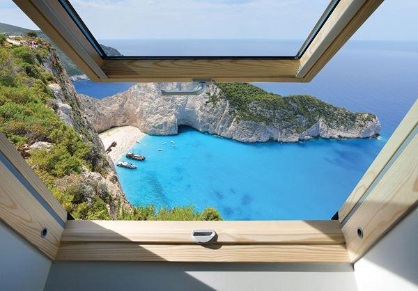 Obrazek Widok z okna na błękitnie morze