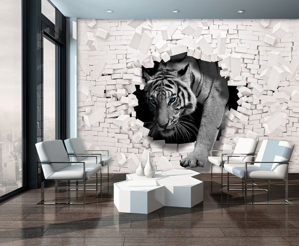 Picture of 3D Tiger Coming out the Wall