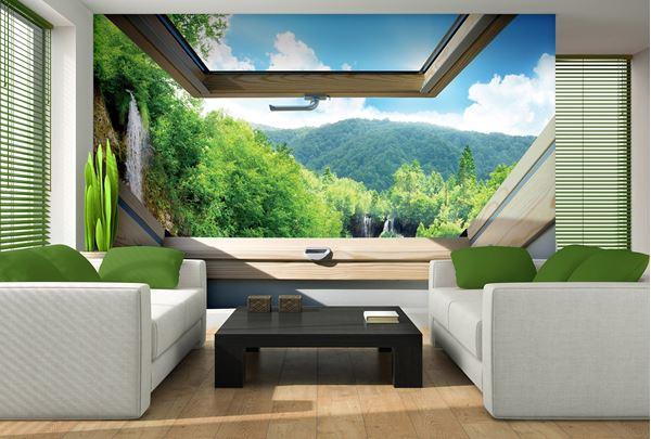 Obrazek Widok z okna na wzgórza i lasy
