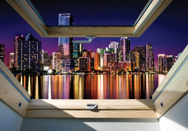 Obrazek Widok z okna na miasto nocą