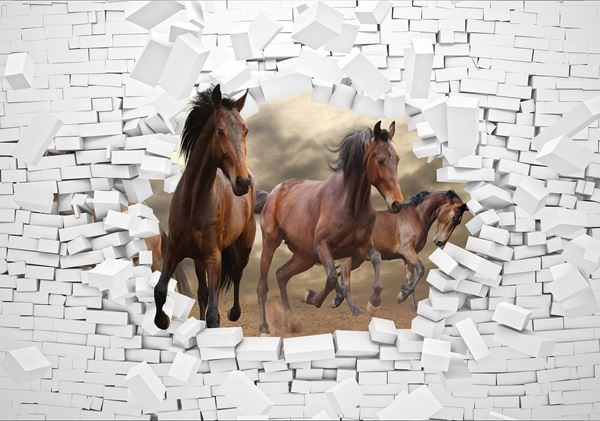 Picture of 3D Horses and Brickwall