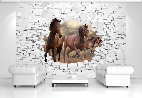 Obrazek Konie i ceglany mur 3D
