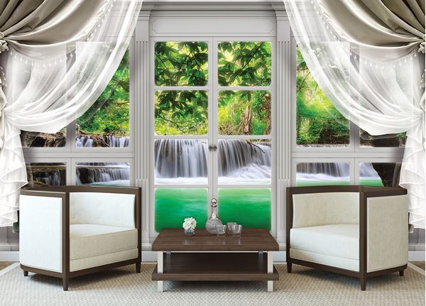 Obrazek Widok z okna na wodospad