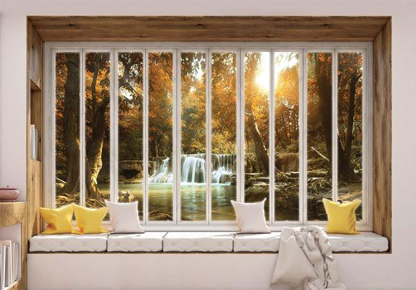 Obrazek Widok przez okno na wodospad