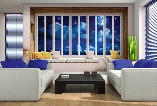 Obrazek Widok z okna na nocne niebo