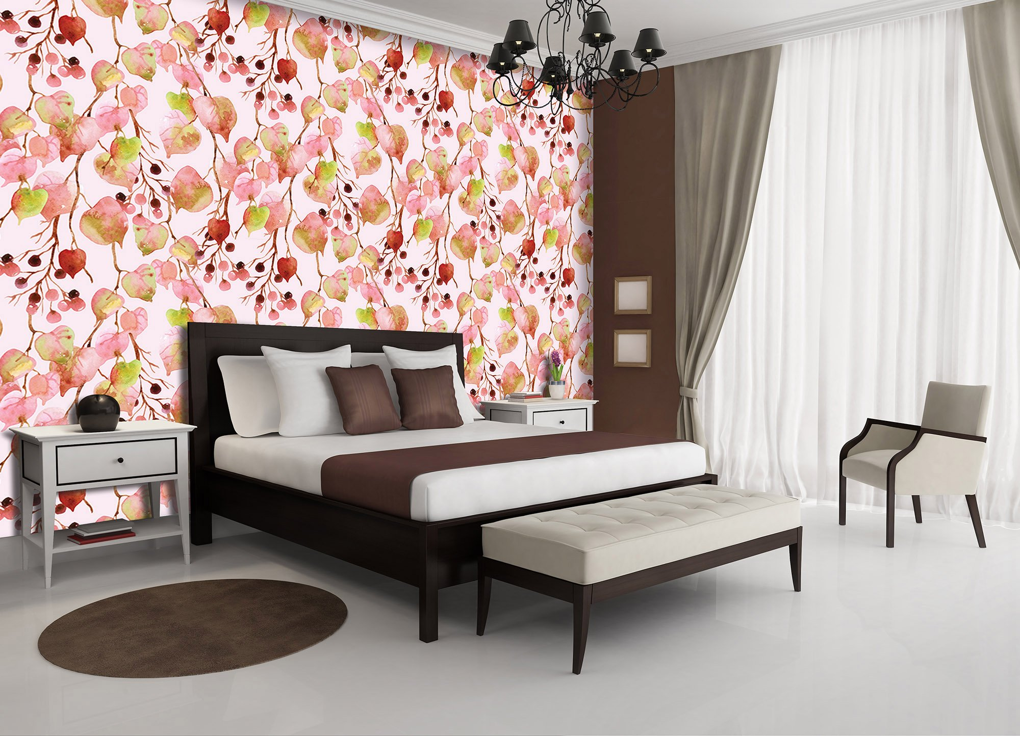 xxl fototapete mit rosa herbstlaub weltderbilder. Black Bedroom Furniture Sets. Home Design Ideas