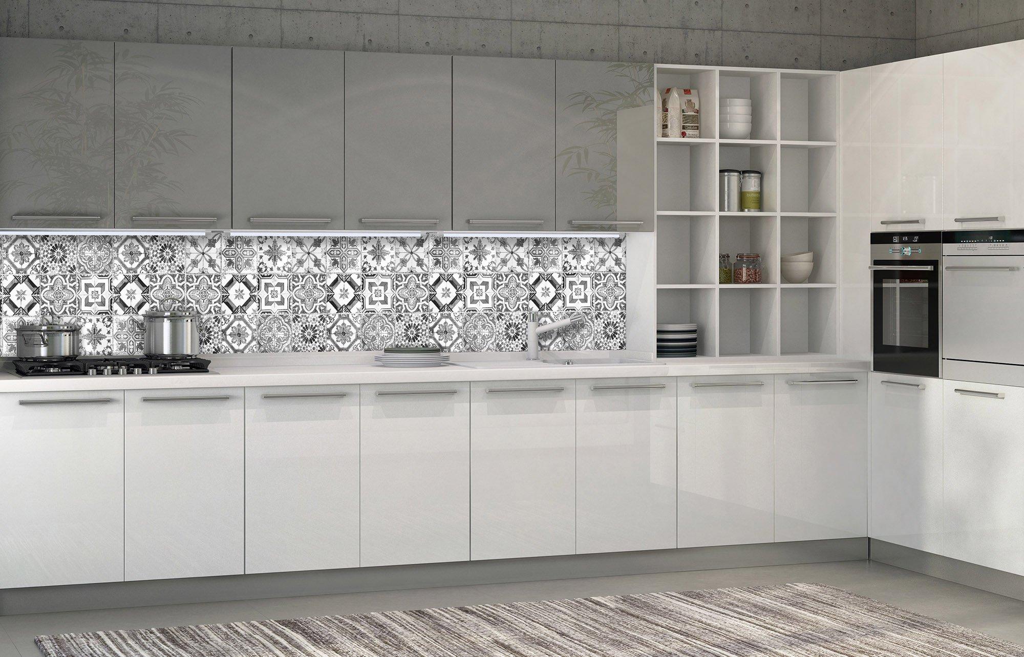 Küchen-Fototapete - Fliesenmuster schwarz-weiß