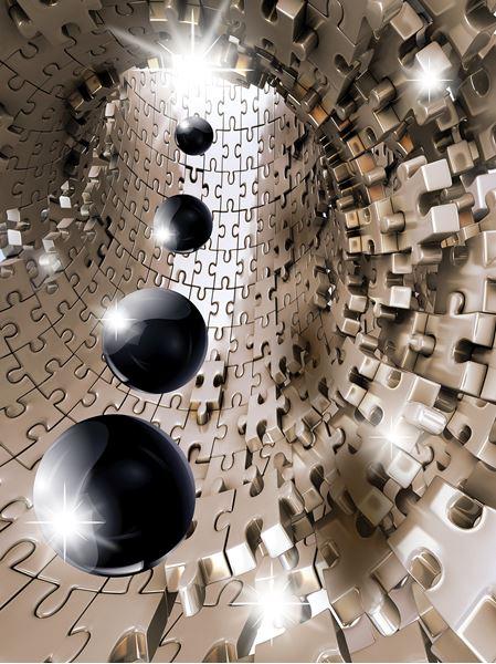 Obrazek Tunel 3D z puzzli z kulami