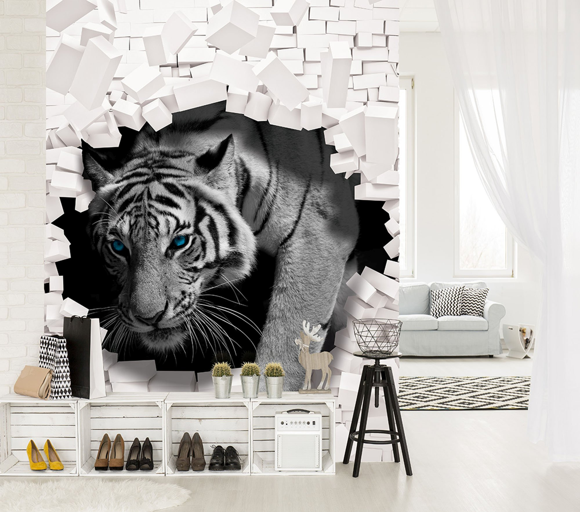 3d fototapete tiger kommt aus der wand. Black Bedroom Furniture Sets. Home Design Ideas