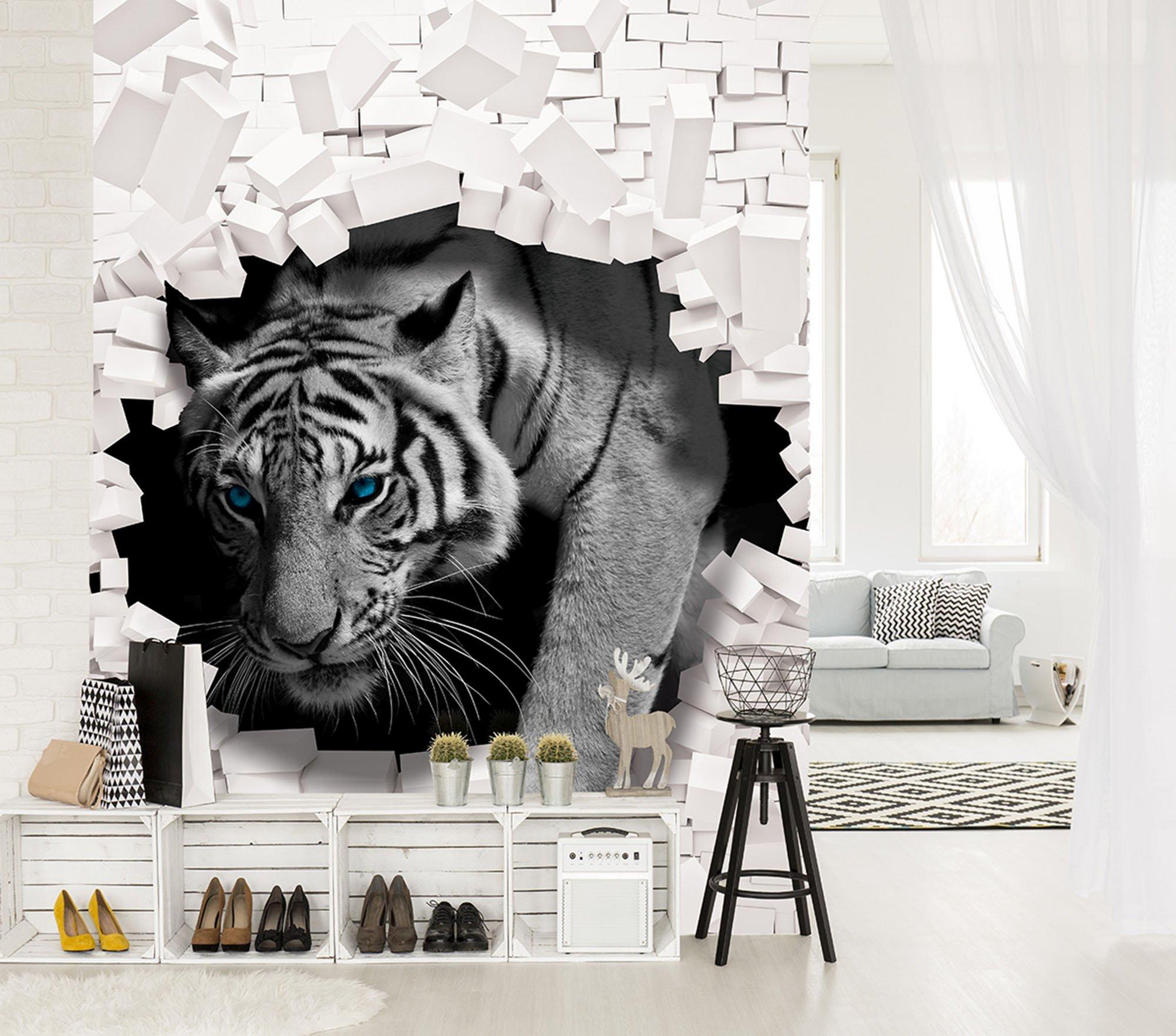 3d fototapete tiger kommt aus der wand. Black Bedroom Furniture Sets. Home Design Ideas