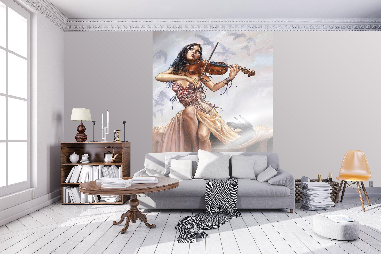 dark adagio lamentide fototapete mit geigenspielerin. Black Bedroom Furniture Sets. Home Design Ideas