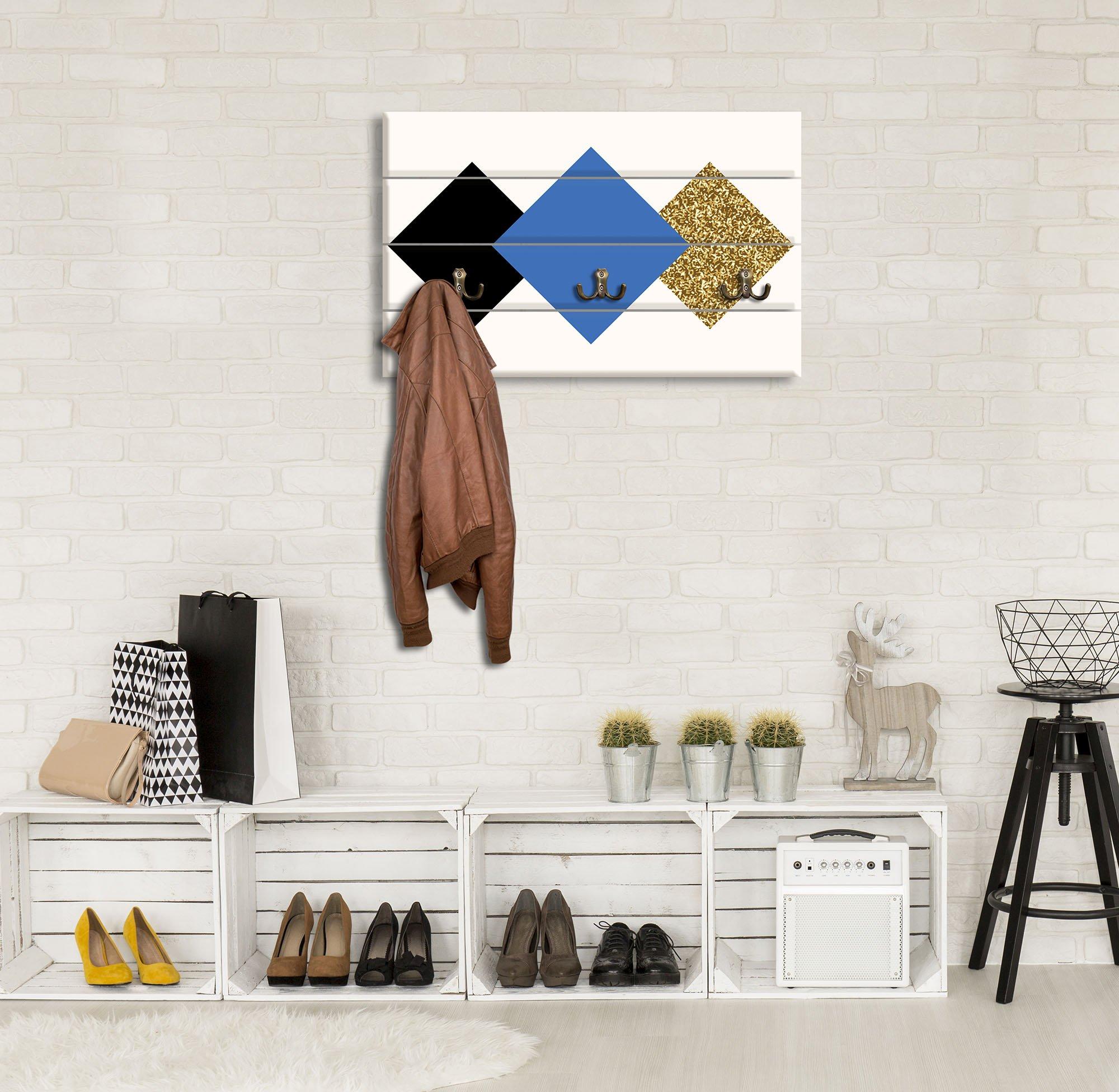 garderobe mit vierecken blau gold weltderbilder. Black Bedroom Furniture Sets. Home Design Ideas