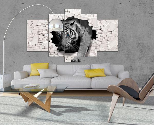 Bild von 3D Tiger kommt aus der Wand
