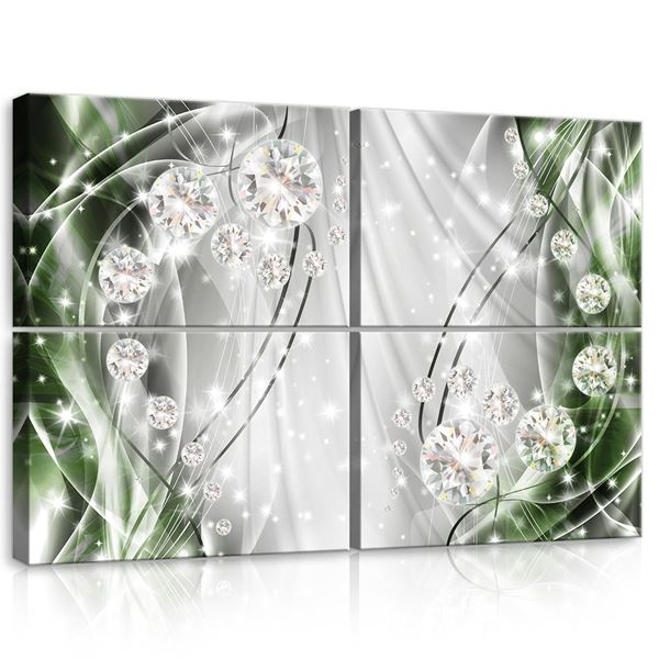 Picture of Abstract, Diamonds, Silver and Emerald