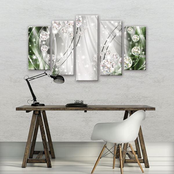 Obrazek Abstrakcja, diamenty, srebro i zieleń