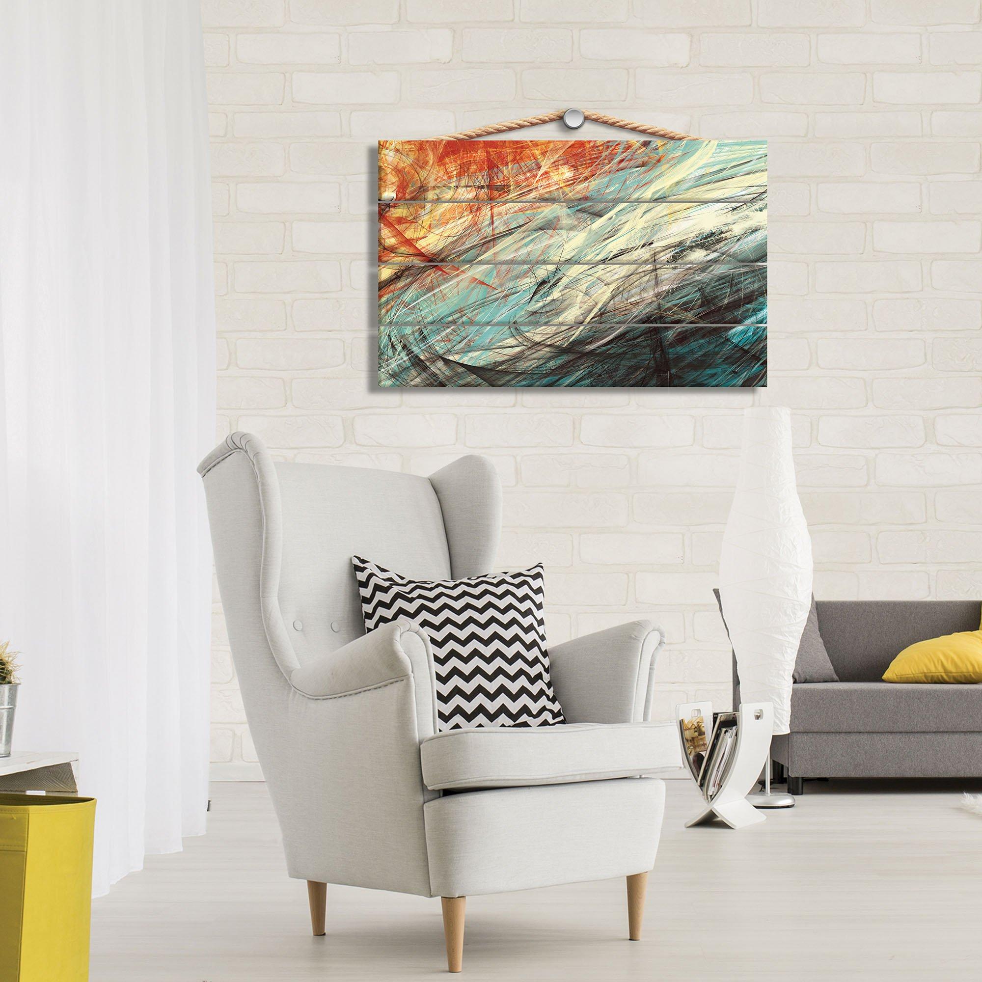 holzbild mit abstraktion orange weltderbilder. Black Bedroom Furniture Sets. Home Design Ideas