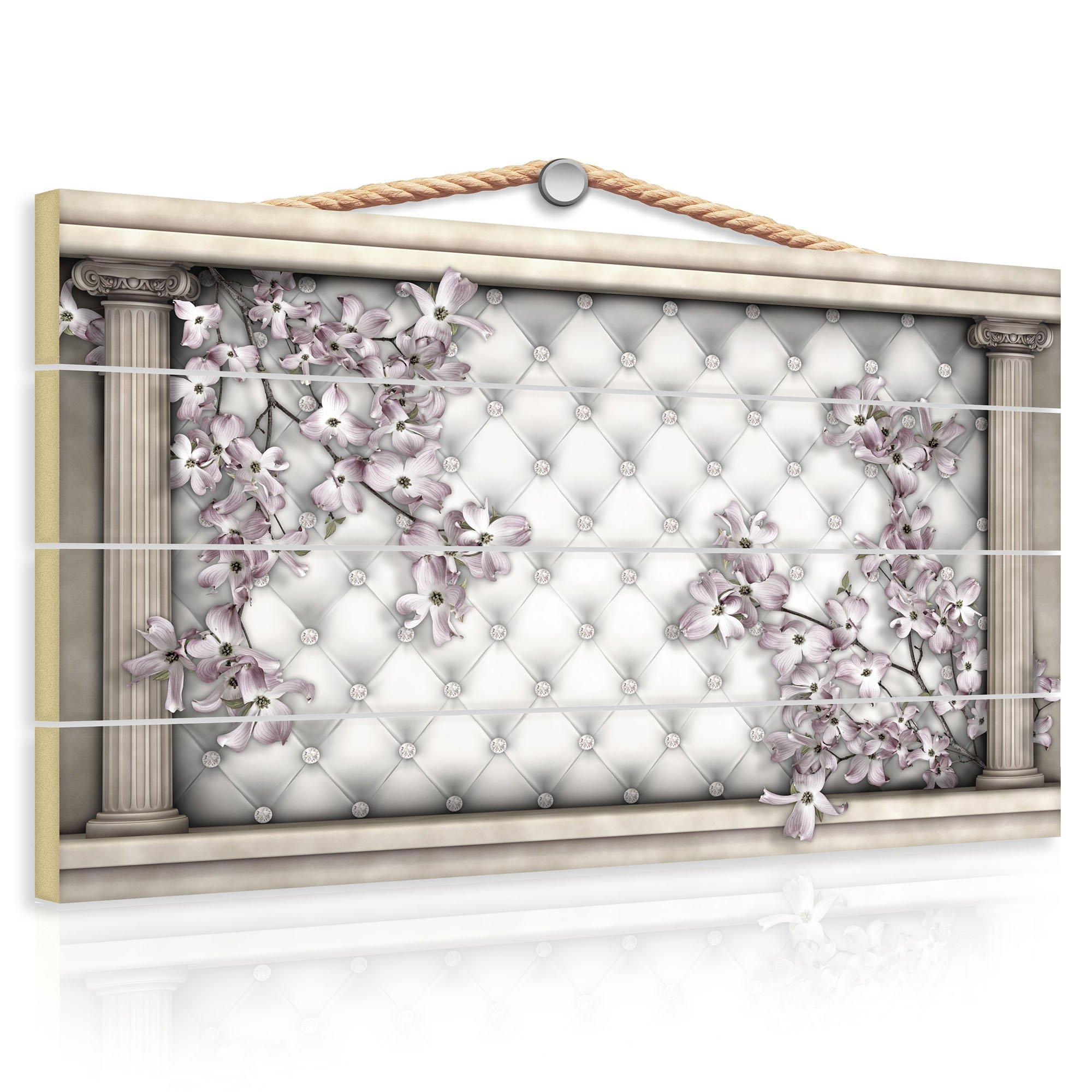holzbild mit bl ten und s ulen weltderbilder. Black Bedroom Furniture Sets. Home Design Ideas