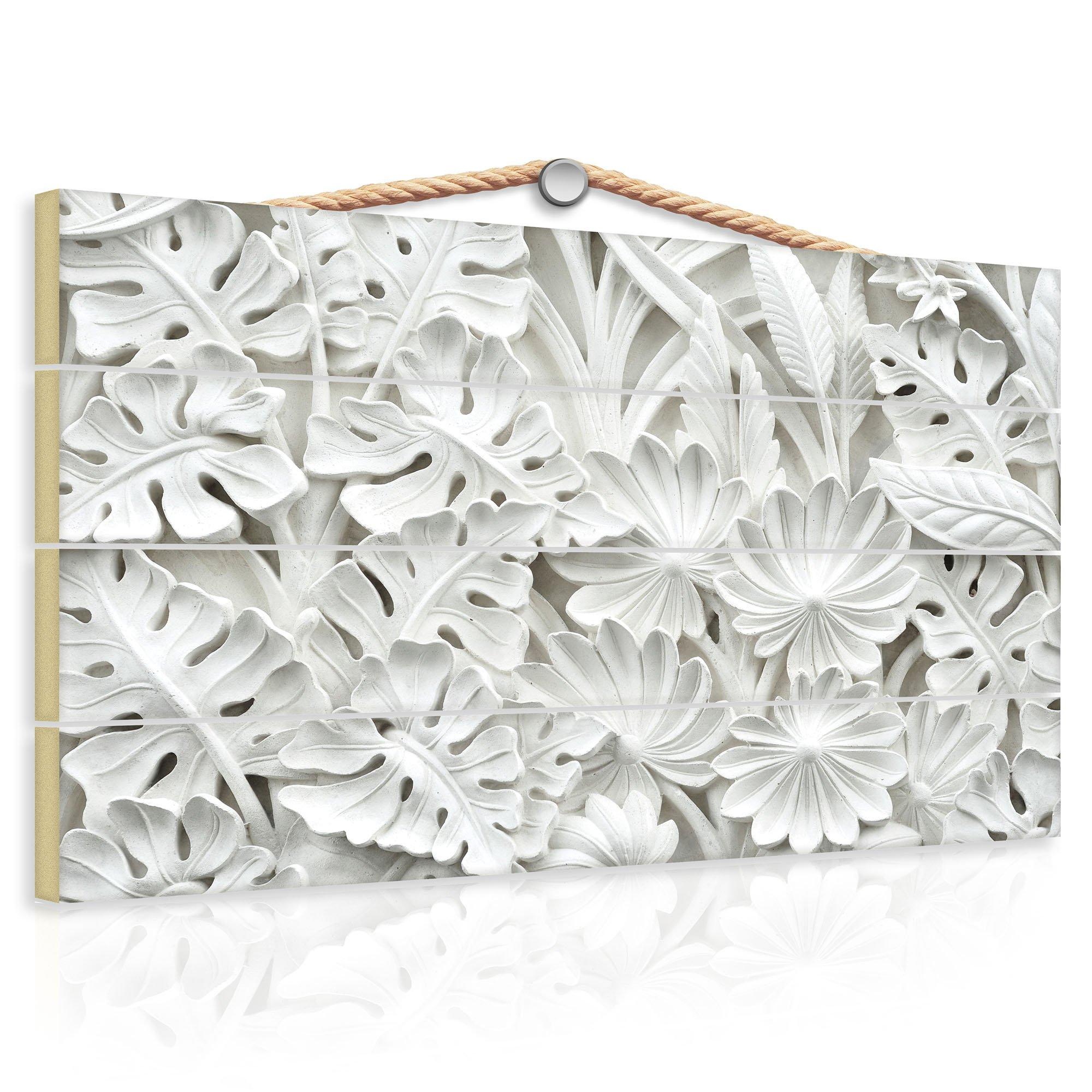 holzbild mit alabaster blumen relief weltderbilder. Black Bedroom Furniture Sets. Home Design Ideas