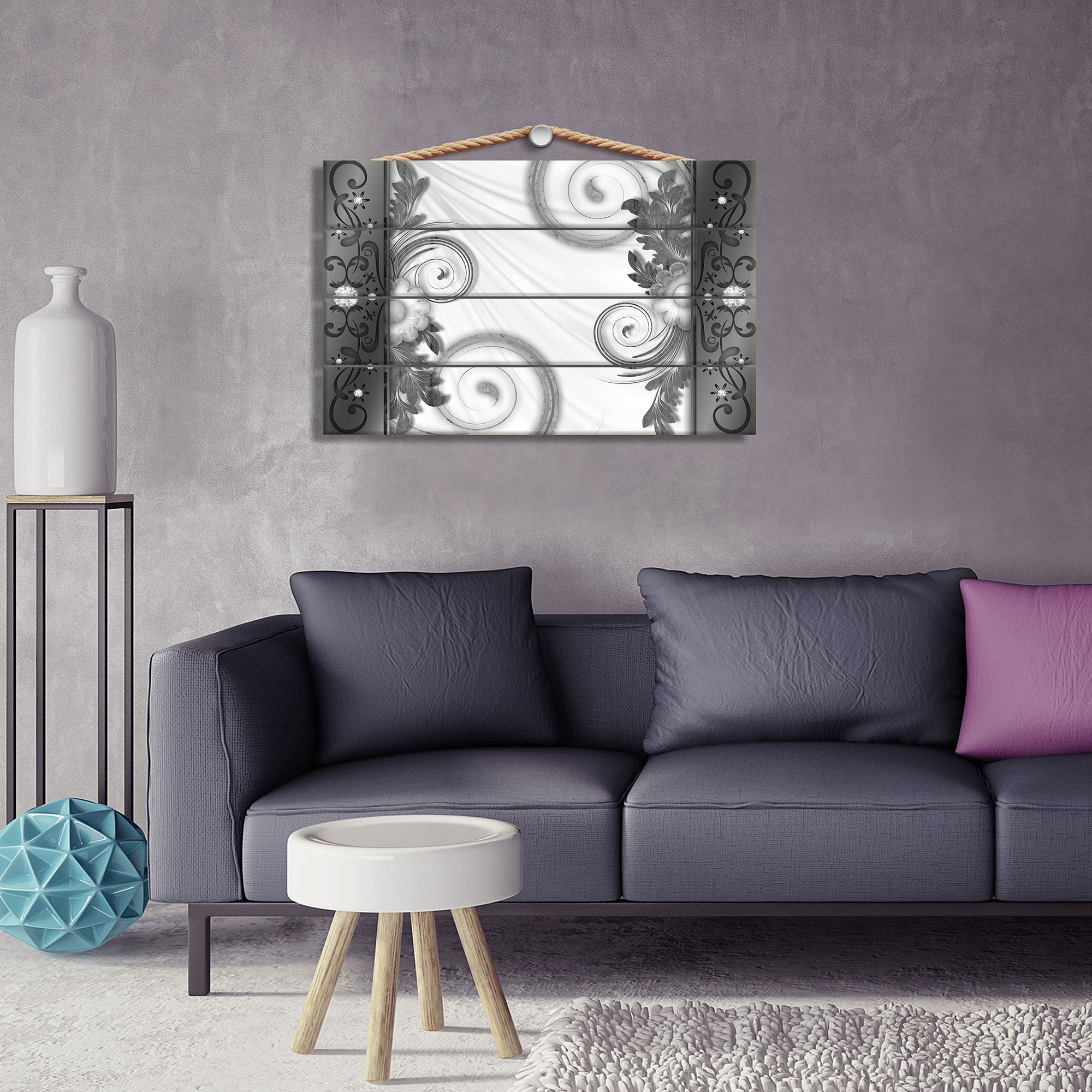 holzbild mit blumenmuster grau wei weltderbilder. Black Bedroom Furniture Sets. Home Design Ideas