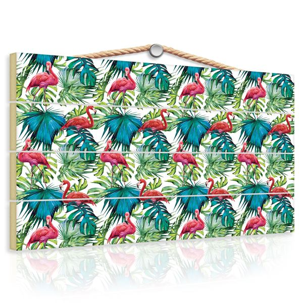 Obrazek Flamingi na liściach