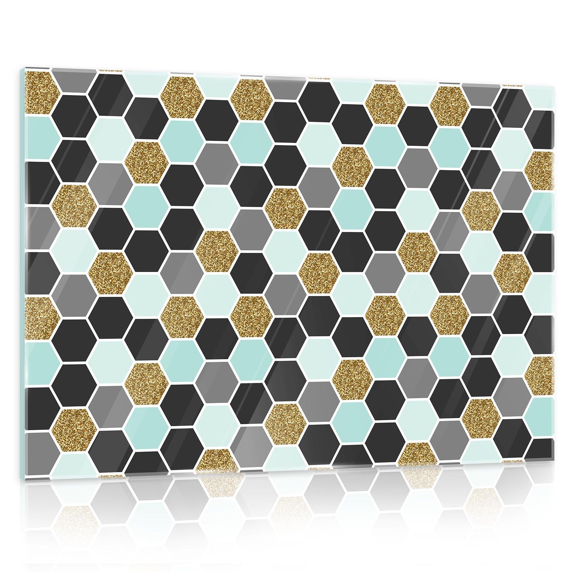 glasbild mit abstrakten sechsecken weltderbilder. Black Bedroom Furniture Sets. Home Design Ideas