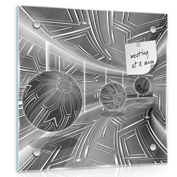 Obrazek Grafitowy korytarz z kulami 3D