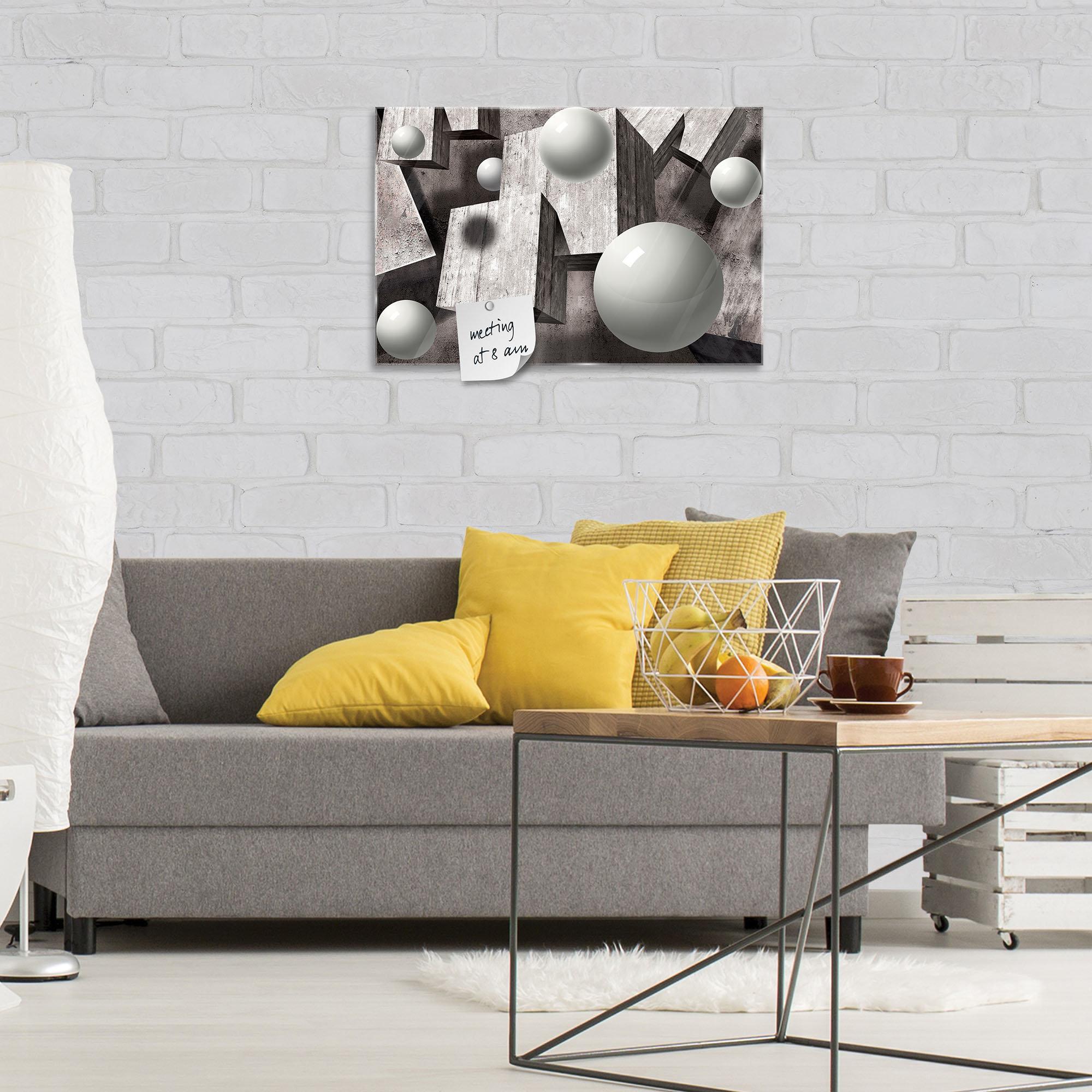 glas magnettafel mit grauen geometrischen objekten. Black Bedroom Furniture Sets. Home Design Ideas