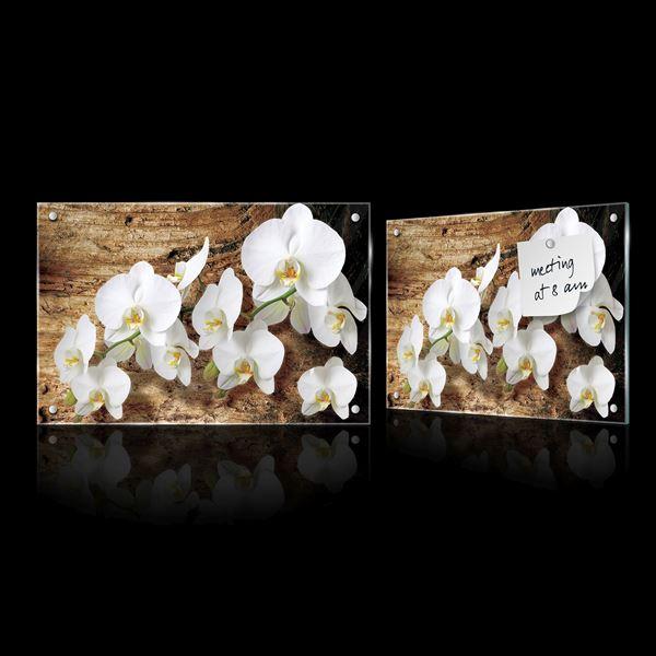 Obrazek Białe storczyki na drewnie