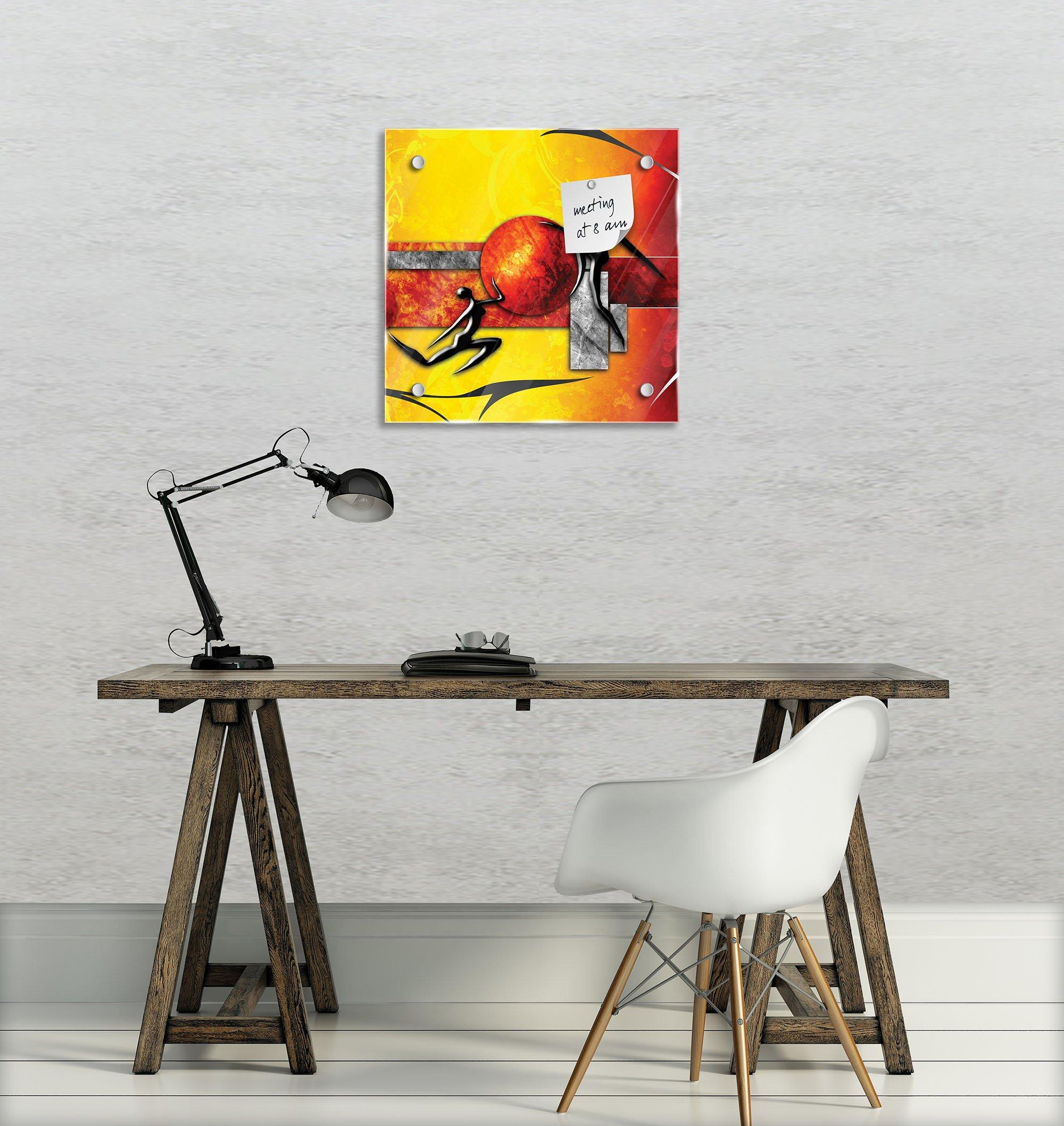 glas magnettafel abstrakt rot gelb weltderbilder. Black Bedroom Furniture Sets. Home Design Ideas