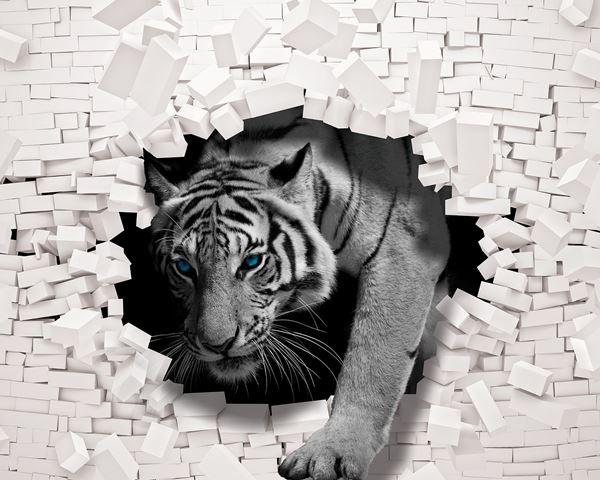 Obrazek Tygrys wychodzący ze ściany 3D