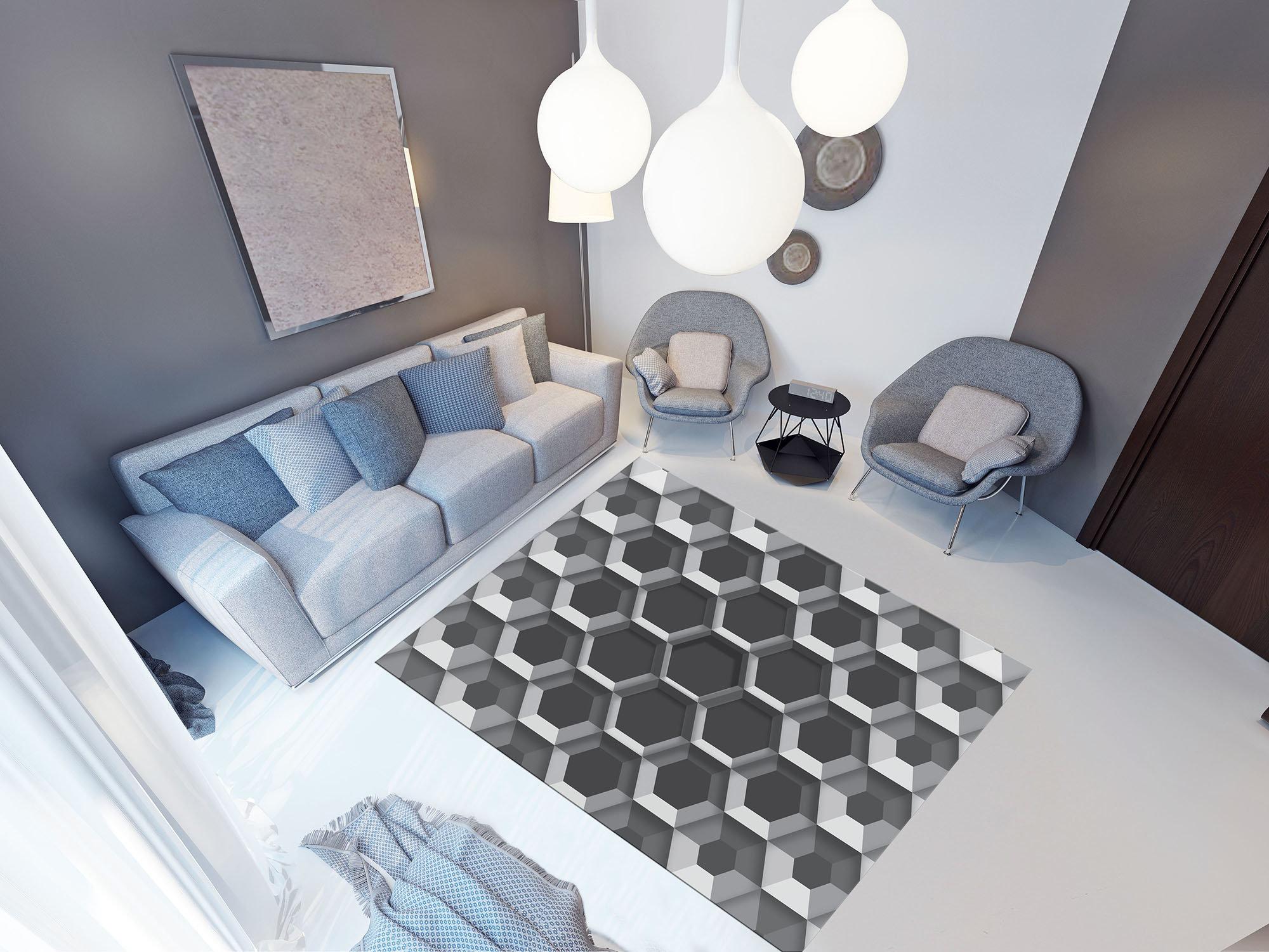 3d Pvc Fußboden ~ D hexagons forwall
