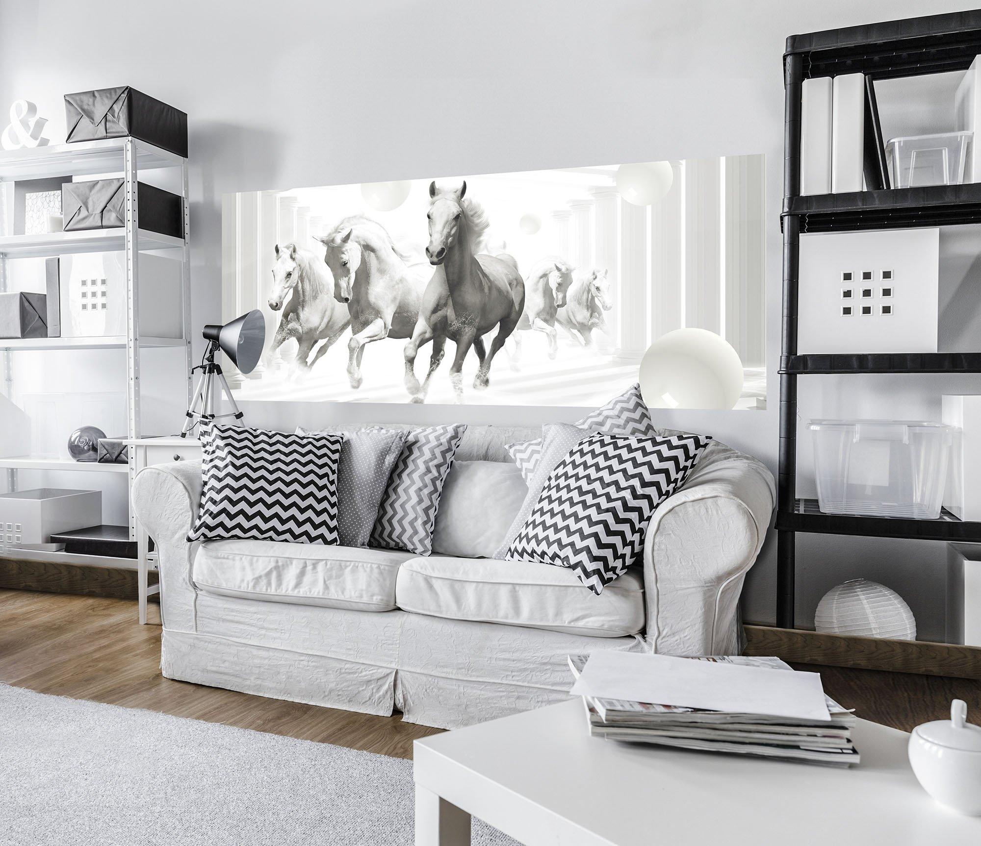 panorama fototapete mit galoppierenden wei en pferden. Black Bedroom Furniture Sets. Home Design Ideas