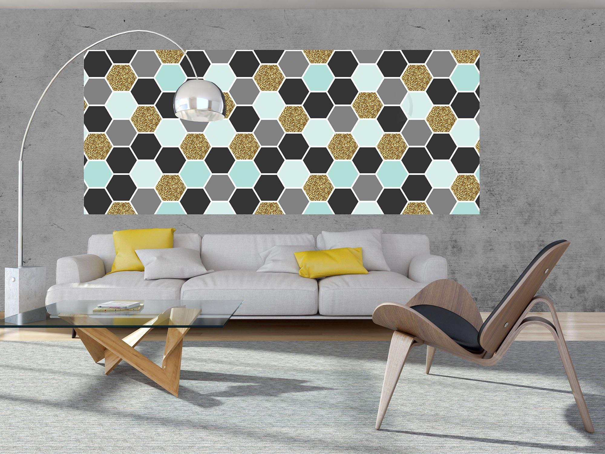 panorama fototapete mit abstrakten sechsecken. Black Bedroom Furniture Sets. Home Design Ideas
