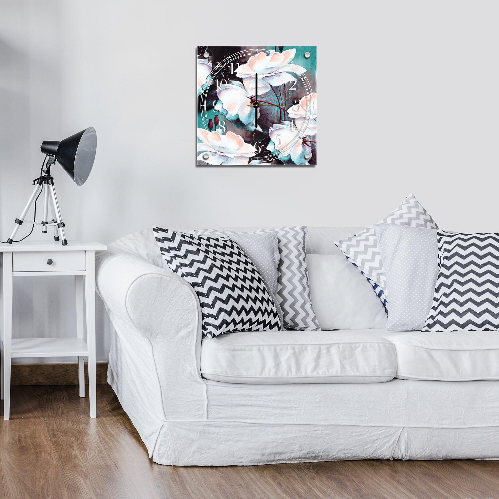 premium glasuhr mit blumenmuster in t rkis und schwarz. Black Bedroom Furniture Sets. Home Design Ideas